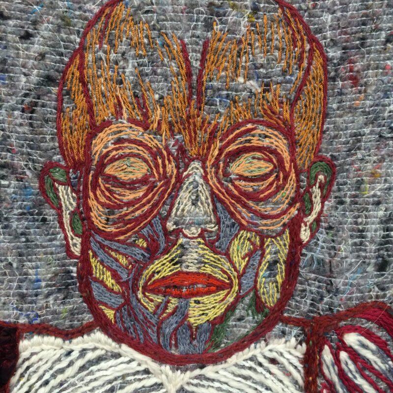 """""""De chair de sang et de sutures"""", embroidery, 160x63 cm-detail, copyright Fontencomble (France)"""