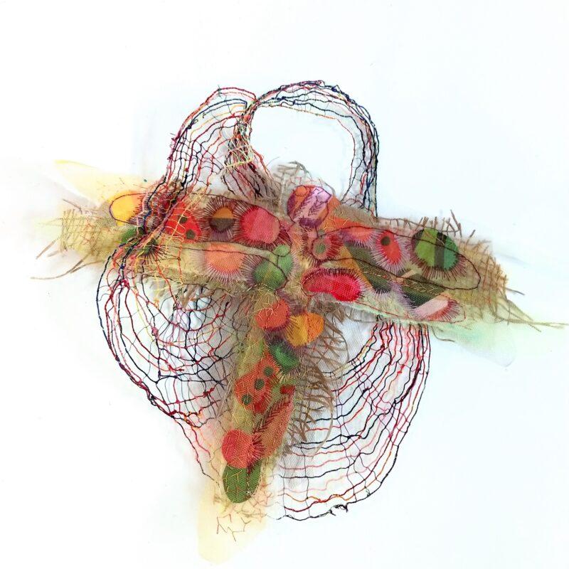 "Serie ""Irregular Nets"", ""Colourful"", 2020, cm.35x40, tessitura a mano, ricamo a mano su collage di tessuti"