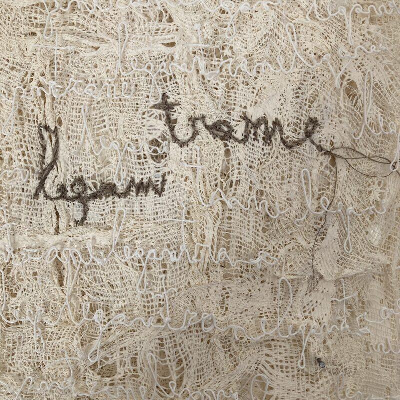 """Davide Viggiano """"TRA ME"""" dettaglio,  libro oggetto, legno, garze, filamento 3D PLA, fili di cotone, cm 34x33x5, 2020"""