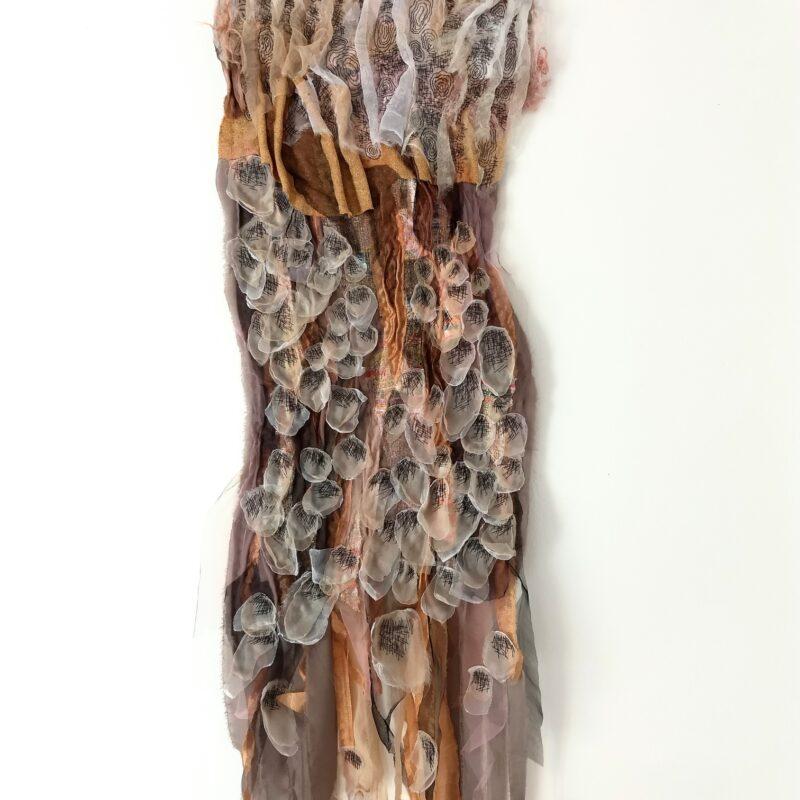 """Serie """"Rocks. We Are Tender"""", """"Rockin' Petals"""", 2020-2021, cm.35x135, base di feltro, ricamo a mano su collage di tessuti, lavorazione con perline"""