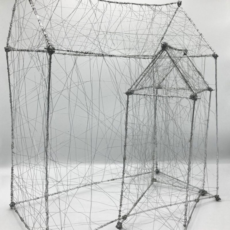 """Davide Viggiano 2 """"Coabitare"""" alluminio e acciaio, cm 30x41x36, 2020"""