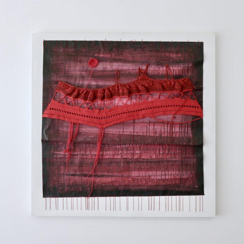 """""""Pensiero paesaggio - in rosso"""" Inchiostro, acrilico, carta, cotone su tela- 100x100 cm - 2012 - Copyright Camilla Marinoni, courtesy Zerial Art Project"""