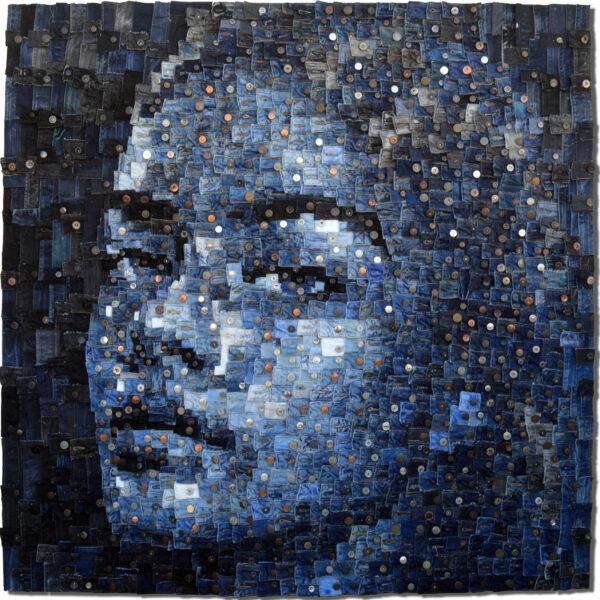 """Untitled"", 2020, denim belt pieces and buttons, 1140 x 140 cm, ph. Credit Deniz Sağdıç Studio, copyright Deniz Sağdıç"
