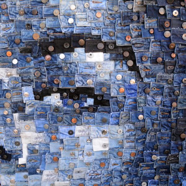 """Untitled"", detail, 2020, denim belt pieces and buttons, 1140 x 140 cm, ph. Credit Deniz Sağdıç Studio, copyright Deniz Sağdıç"