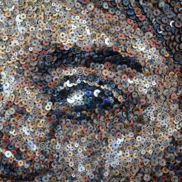 """Untitled"", detail, 2020, used buttons on fabric, 140 cm, ph. Credit Deniz Sağdıç Studio, copyright Deniz Sağdıç"