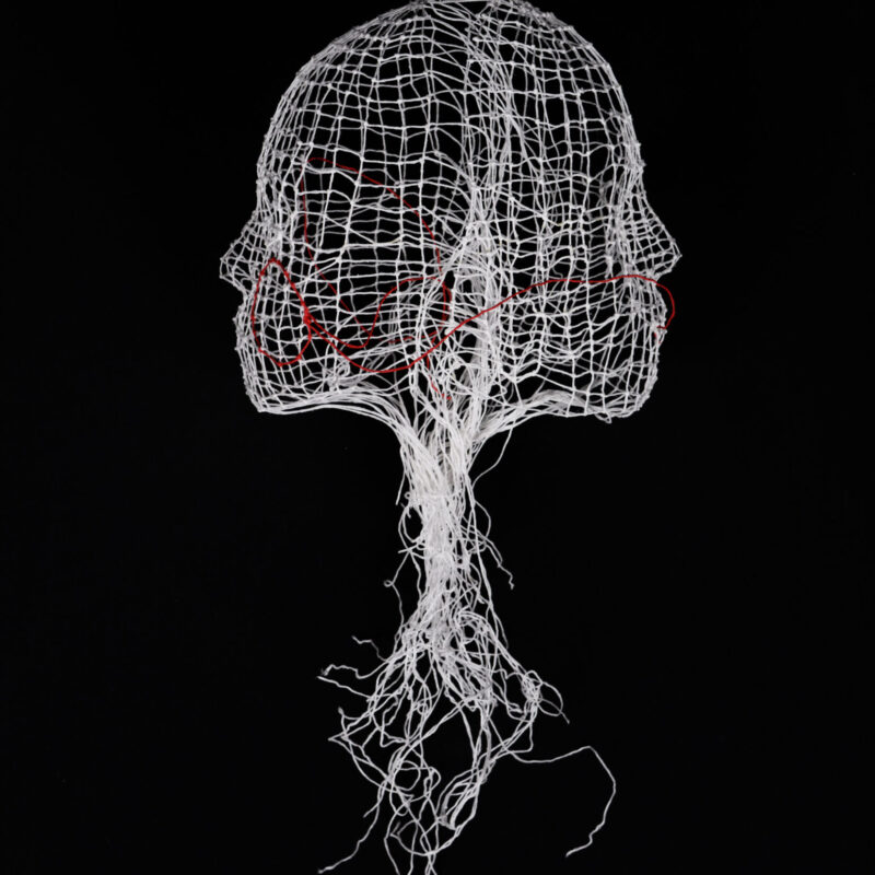 Connections, knotting and starching, cm. 25x25x30, 2019. Ph.credit Giulia Piunti