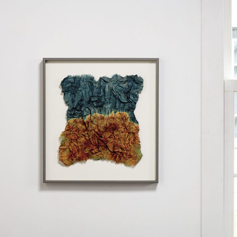 """Forest Fire, 2017, stitch-resist dyeing on handwoven silk, 20.25"""" x 18.625"""" x 1.5"""", photo cr. Tom Grotta, copyright Neha Puri Dhir (India)"""