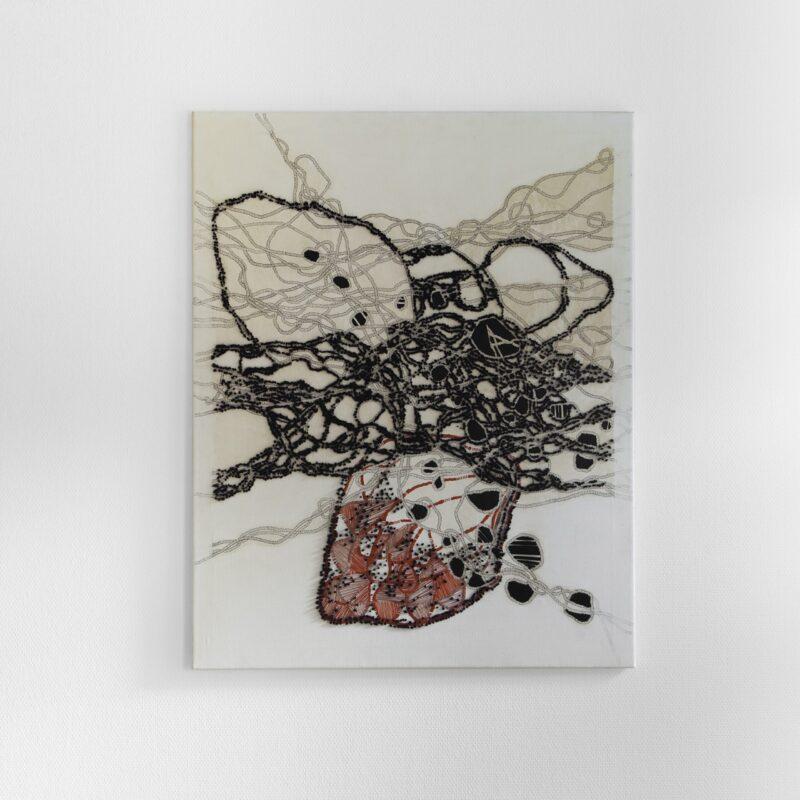 Varka Kozlovic, Fountain Pen Series Op.n. 32, cm.100x80, inchiostro e fili su tela