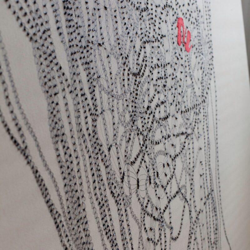 Varka Kozlovic, Fountain Pen Series Op.n.29, cm.100x120, inchiostro, tessuto e fili su tela