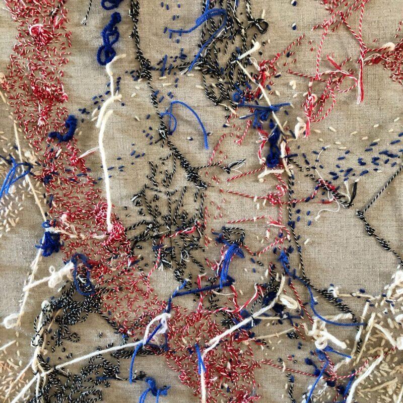 Varka Kozlovic, back side story, Soft Series Op. n.33, cm.130x90, inchiostro e lana su tela