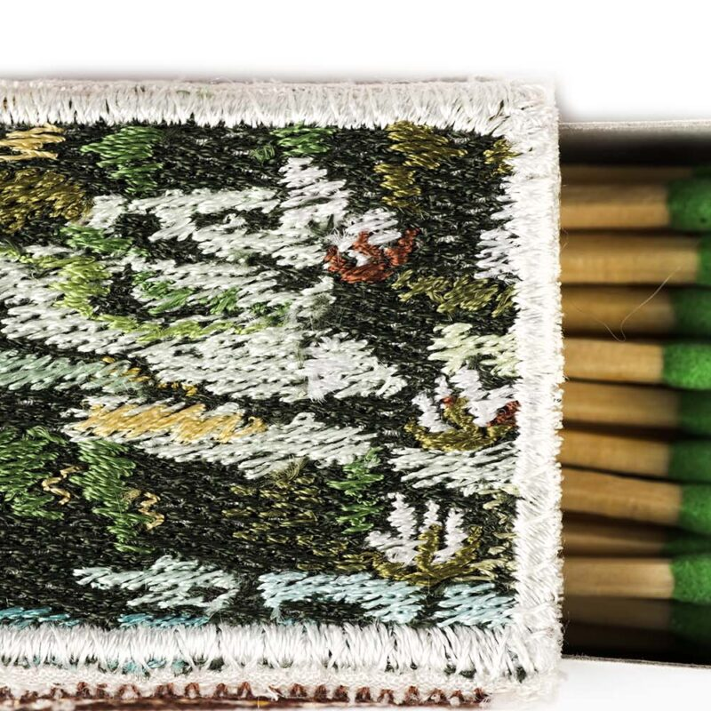 Baiba Osite (Latvia), Water lilies, embroidery / matches boxes, silk thread, 20 x 20 x 3 cm, photo: Leszek Żurek, detail, Work from the 11th Baltic Mini Textile Gdynia 2019; Gdynia City Museum Prize