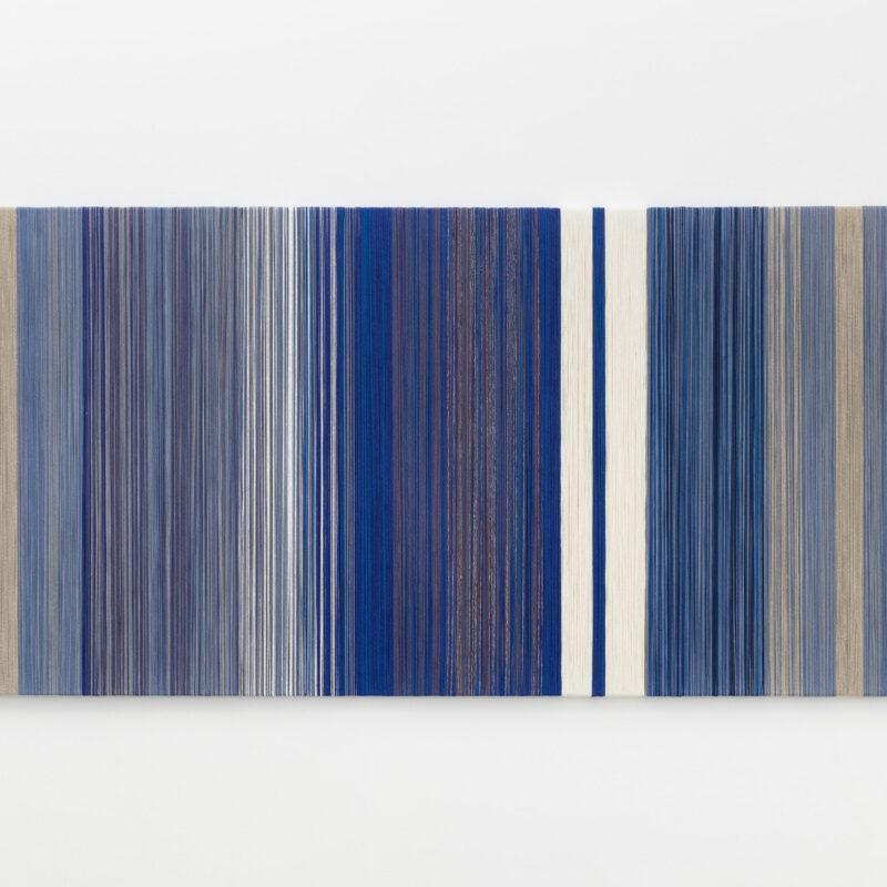 Sheila Hicks, textile fibers on wooden support, 120×300×4 cm. Courtesy the artist and Francesca Minini. Photo Andrea Rossetti