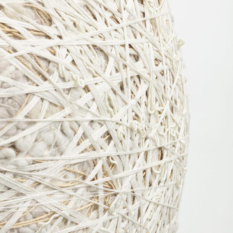 Sheila Hicks, Polar Comet, 2020. Linen, wool, natural fibers and synthetic fibers. 105×105×37 cm. Courtesy the artist and Francesca Minini. Photo Andrea Rossetti