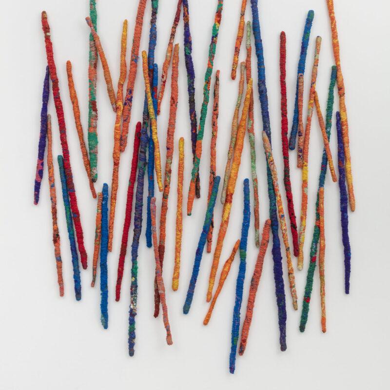 Sheila Hicks. Synthetic fiber, natural threads, textile. 280×230 cm. Courtesy the artist and Francesca Minini. Photo Andrea Rossetti