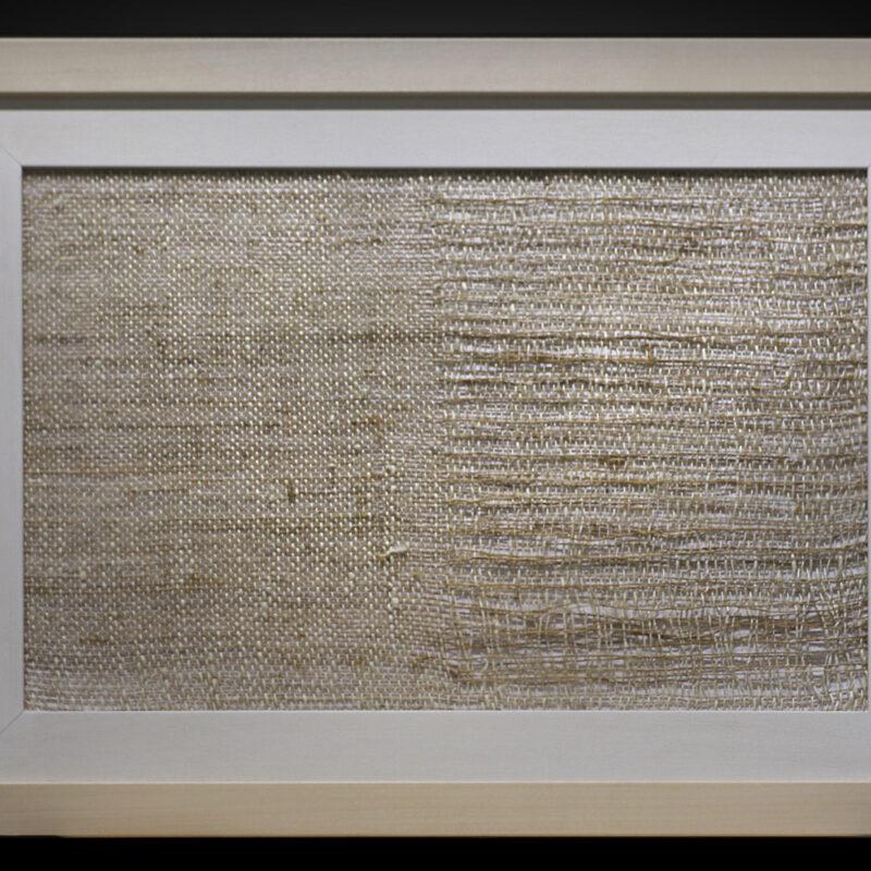 Pagine bianche - Lisa Fontana, ortica e bambu 43x56cm - Tessitura su telaio manuale a 4 licci - 2020