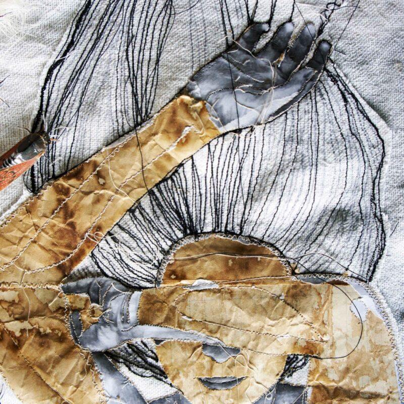 """studio per progetto """"Sogni di stoffa"""". ricamo su stoffa e carta, 2016"""