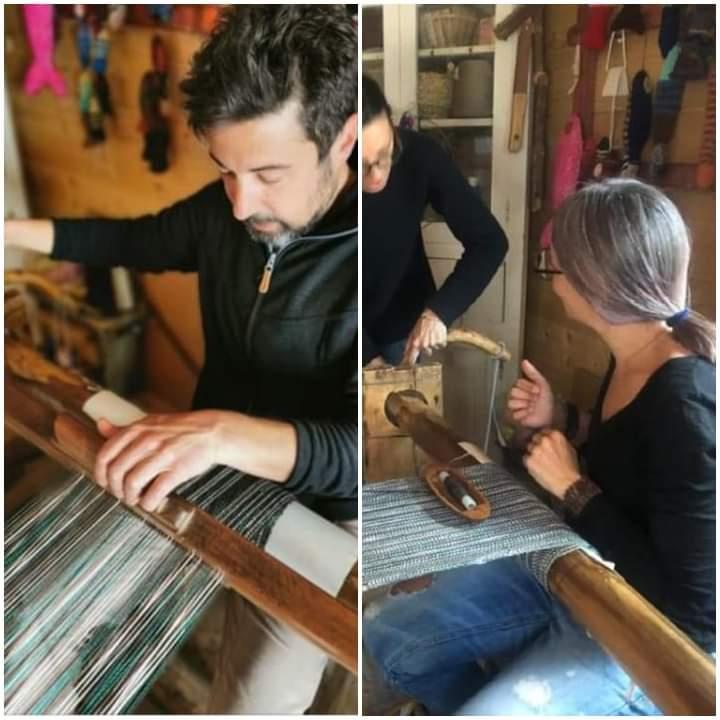 Prove di tessitura per il progetto con erica del fio