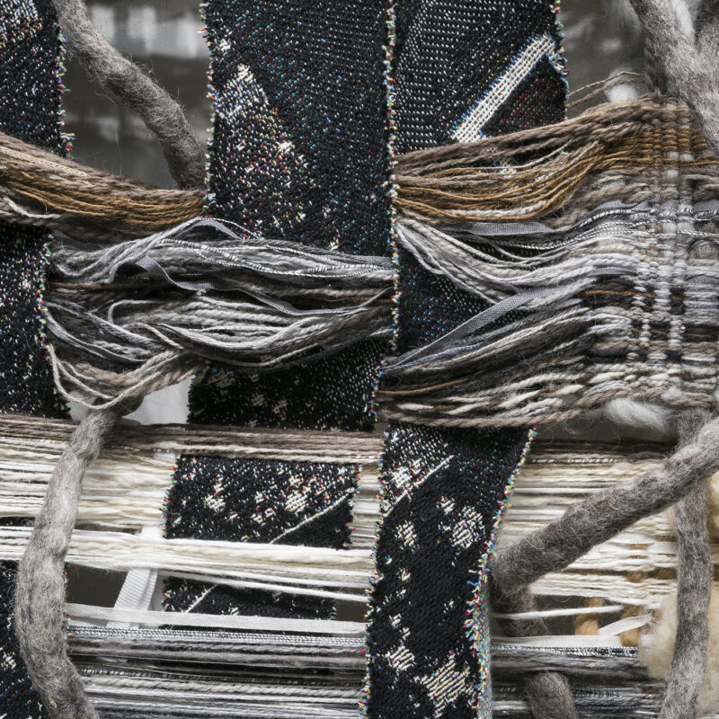 """""""Cosmic Fluff-detail"""", 2020, raw sheep's wool and other fluff; loom bars. 144"""" x 300"""" x 15"""" (variable), image courtesy of Phillip Maisel Photography, Kira Dominguez Hultgren"""