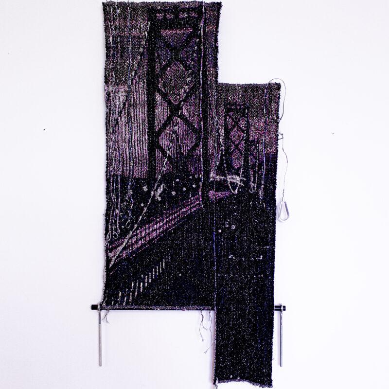 """Bridge"", 2019, digital-hand loomed cotton, metallic thread, wire, found metal rod and hardware, 42"" x 24"" x 3"". Image courtesy of the artist, copyright Kira Dominguez Hultgren"