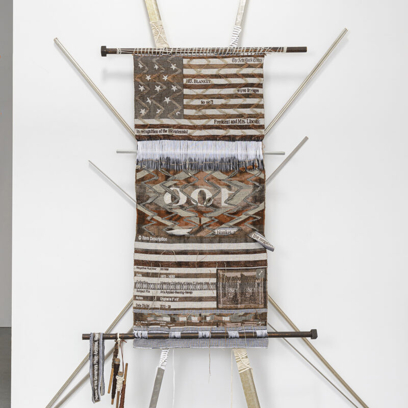 """""""In the Negative"""", 2020, digital/hand-loomed fabric in cotton, wool, metallic, and linen yarns; t-shirt lashing; found framing and loom bars; pirns; brackets, 115"""" x 89"""" x 10"""". Image courtesy of Shaun Roberts Photography, Kira Dominguez Hultgren"""