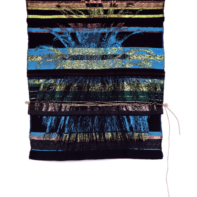 """""""Oakland Native"""", 2019, digital-hand loomed cotton, rayon, metallic threads, and sea grass cordage. 38"""" × 29"""" × 1"""". Image courtesy of the artist, copyright Kira Dominguez Hultgren"""
