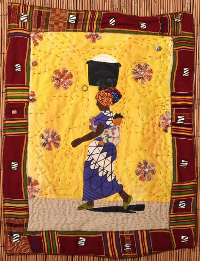 Kianga Jinaki (b. 1958) A Day in the Life of an African Woman, 2019 Vintage Kente cloth, African fabric, ostrich shell beads, Krobo beads, bone beads, hand-dyed cotton fabric On loan courtesy of the artist