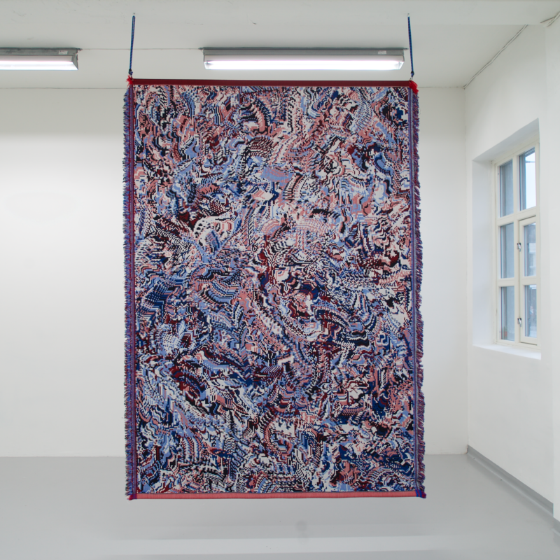 Nobody eats orange under a full moon. Blue fruits are fine. Digital painting. Jacquard woven piece (two-sided), wool. Installation: Bungee cords. Size: 230x166. Year of production: 2020. Photo credit: Søren Krag