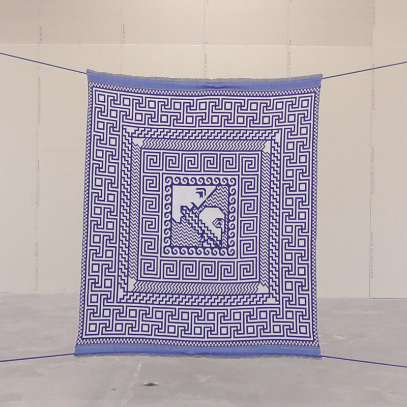 Pallas Athena speaks winged word to Diomedes (ILLIAD V). Digital painting. Jacquard handwoven piece (two-sided), wool. Installation: Bungee cords. Size: 105x110 cm. Year of production: 2018. Photo credit: Søren Krag