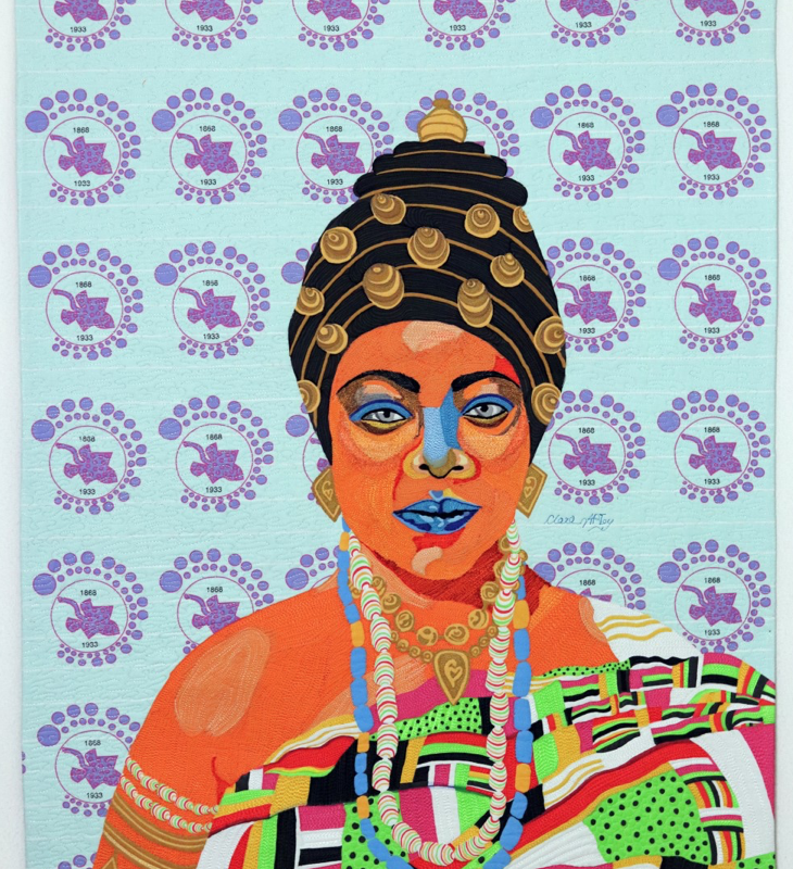 Clara Nartey (b. 1971) - Queen Sissieretta, 2020 - Textiles, polyester threads and inks on cotton/thread painting, digital illustration, textile design - On loan courtesy of the artist