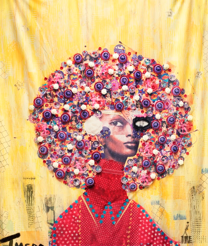 Theda Sandiford (b. 1970) - Wonder Women, 2018 - Rayon fabric print with embroidery thread, trim, buttons, plastic pony beads, mirrors, crystals, jewelry, and recycled baby food bottle caps - On loan courtesy of the artist