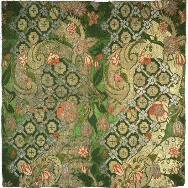 AS 92, lampasso, fondo damasco broccato, 1715 - 1720, Lione, Francia