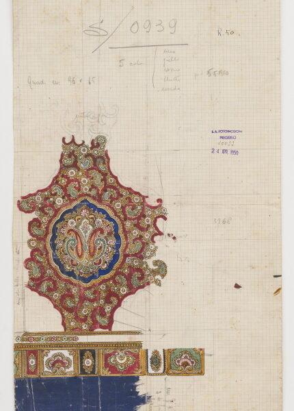 DS 221, disegno per stampa, tempera su cartoncino, 24/4/1950