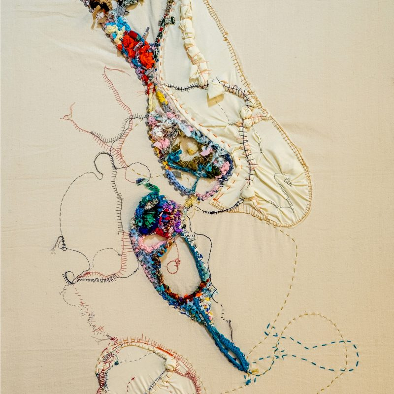 """""""Sincere"""", 2021, Embroidery and found fabric on canvas, 145 x 91cm, copyright Shamilla Aasha"""