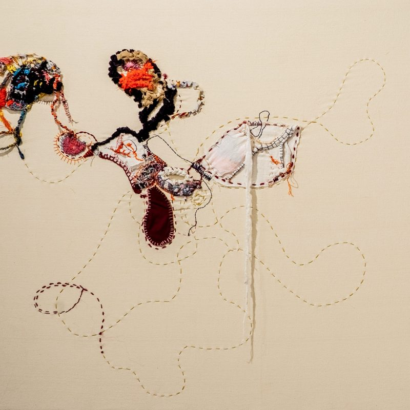 """""""Finding the lost"""", 2021, Embroidery and found fabric on canvas, 90 x 96cm, copyright Shamilla Aasha"""