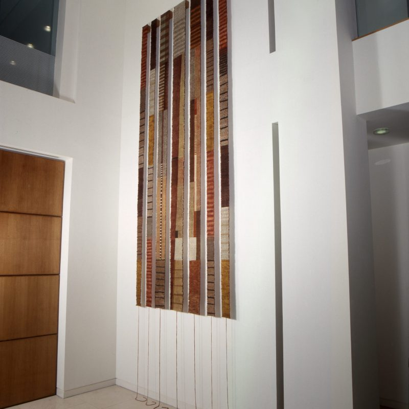 """""""Encoded"""", 2000, Printed, pleated, stitched linen. 487cm x 145cm. Commissioned by Argent PLC for 6 Brindley Place, Birmingham Play, copyright Caroline Bartlett"""