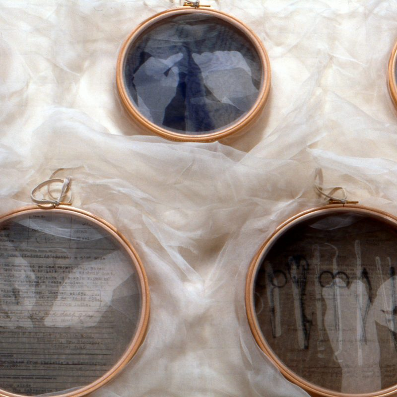 """""""Conversation Pieces-detail"""", 2003, Wooden embroidery hoops, silk crepeline, wool, linen tape, printed, stitched, 272cm x 74cm x 5cm, ph. cr. G10, Collection of the Whitworth Art Gallery, copyright Caterine Bartlett"""